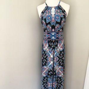 London Times Maxi Dress Keyhole Paisley Black